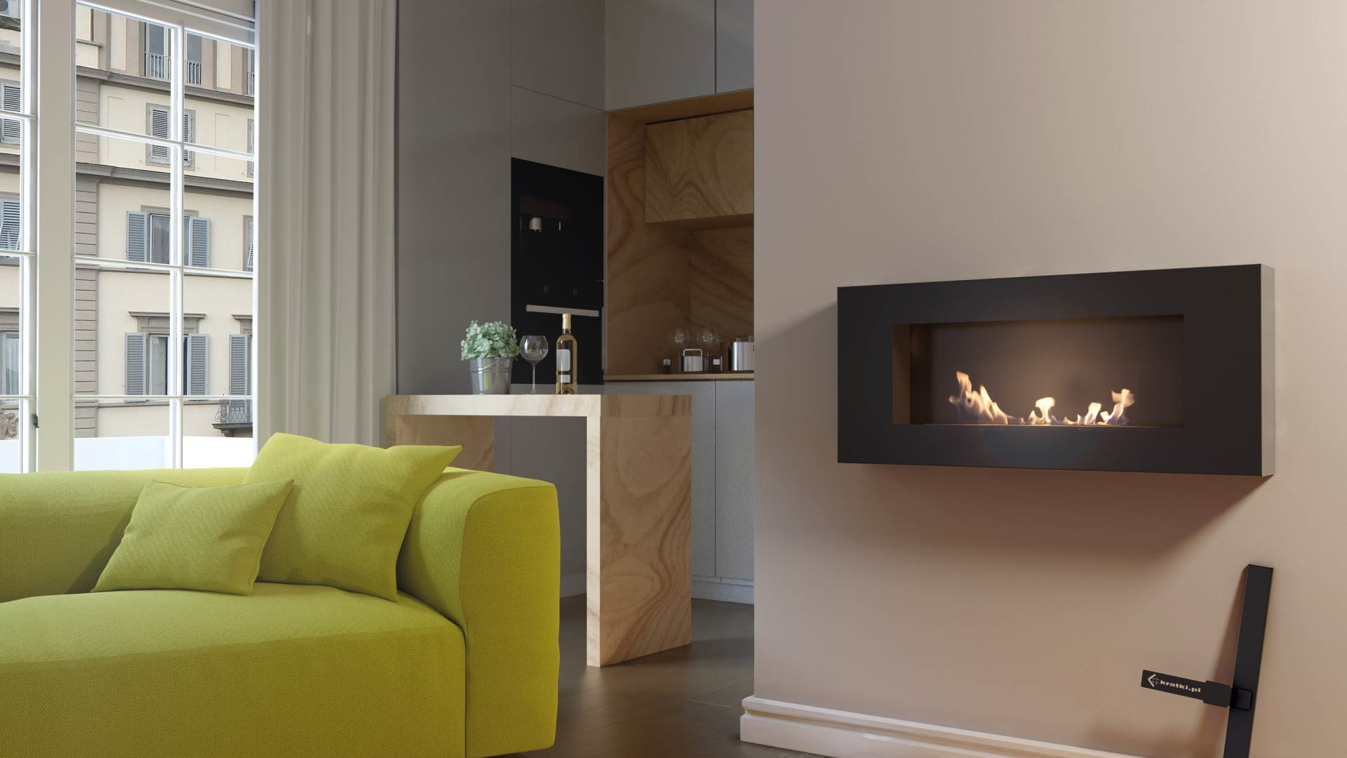 en af bio chimney fireplace without