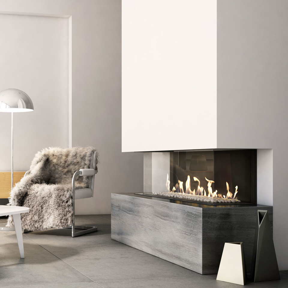 Gas fireplace LEO 100 left / right for natural gas